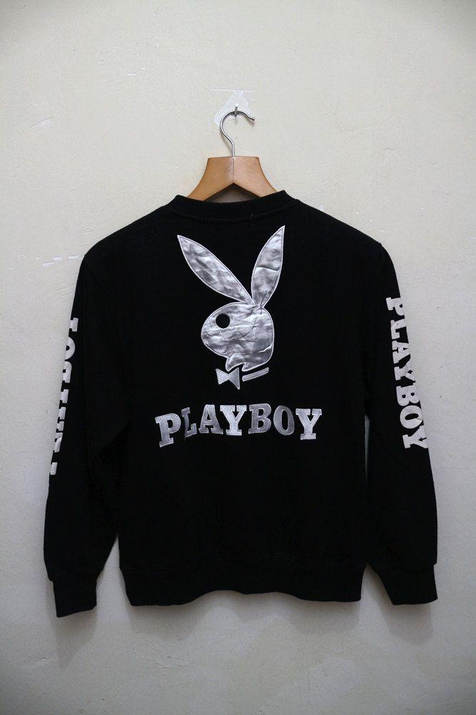 Vintage PLAYBOY Nude Big Logo Bunny Streetwear Sweater Crewneck Pullover  Black… 82a3ce14fe46