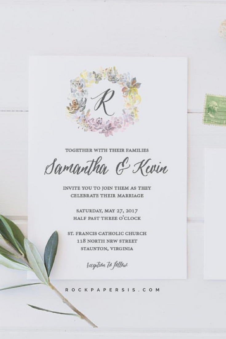 simply stated and simply stunning wedding invitation by rock paper
