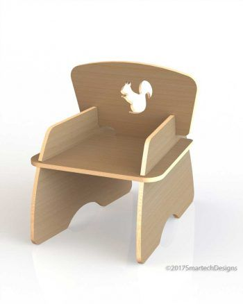 The Kids Chair A is a flat pack, slot together chair CNC