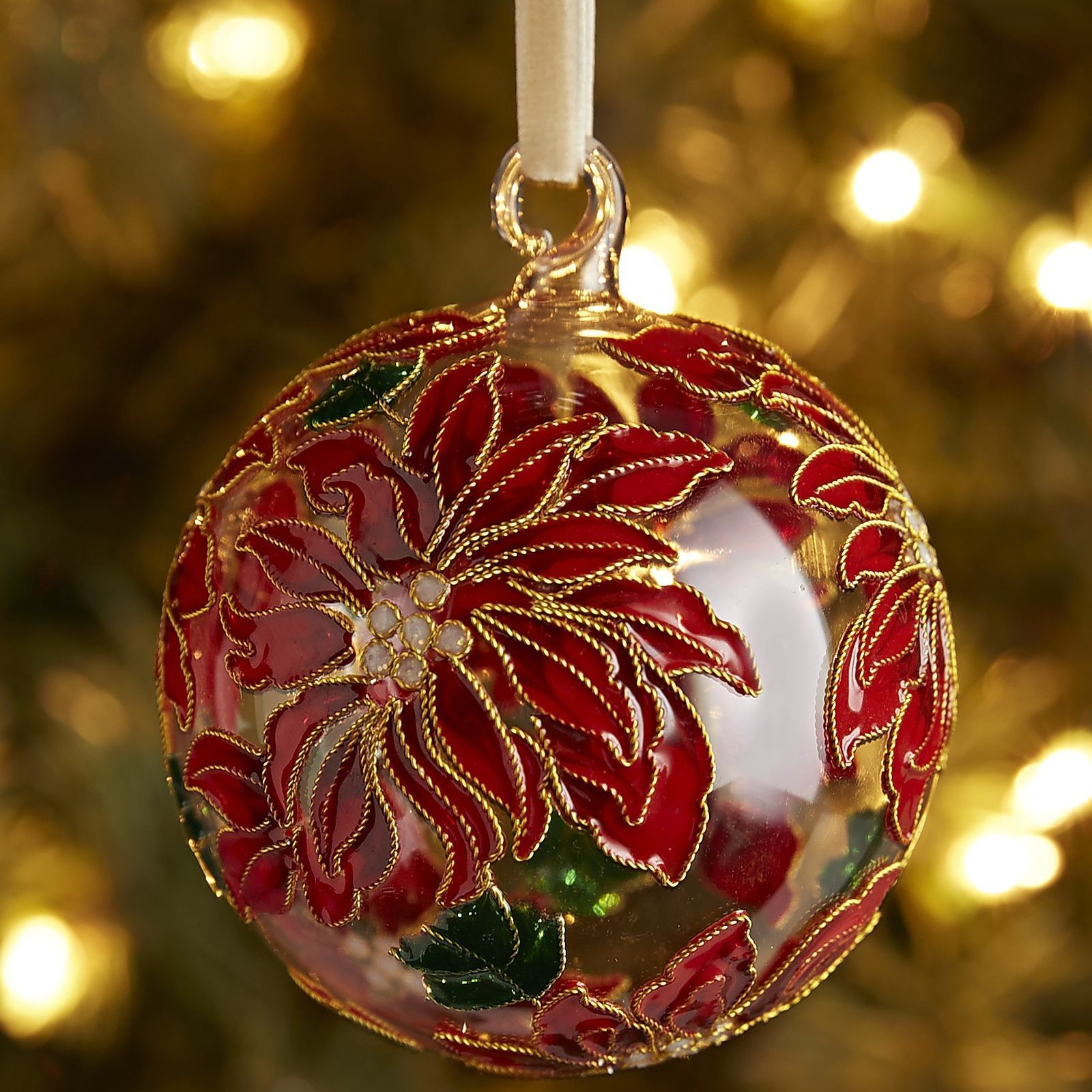 How To Decorate A Christmas Tree With Balls Cloisonne Poinsettia Ball Ornament  Red  Pier 1 Imports