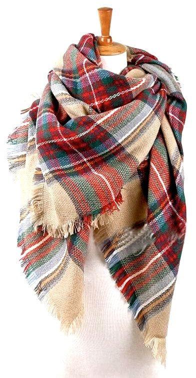66cc68f77b15 BLANKET Scarf Gifts Plaid Red Blanket Scarf Red Tartan Wrap, Gift ...