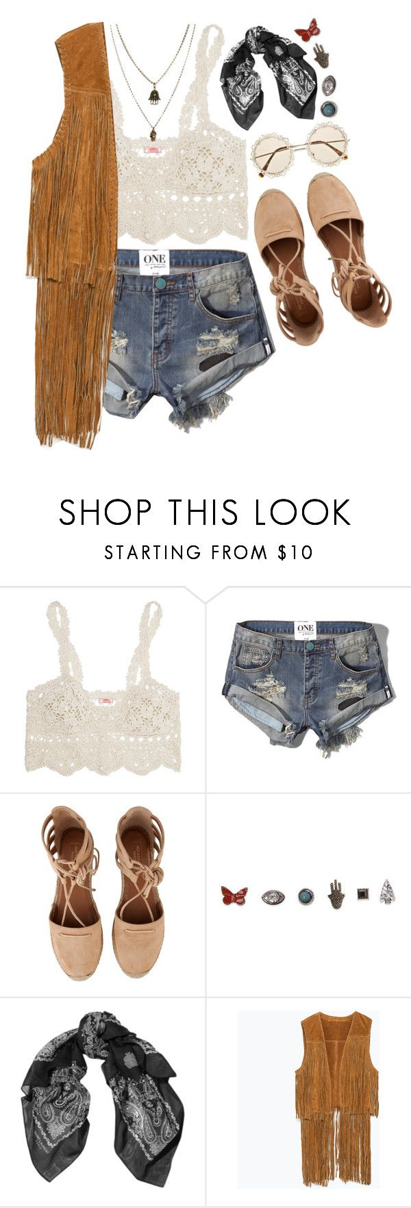 """""""Young Girls"""" by bellacharlie ❤ liked on Polyvore featuring Anna Kosturova, Abercrombie & Fitch, Aquazzura, With Love From CA, Yves Saint Laurent, Zara and Jamie Jewellery"""
