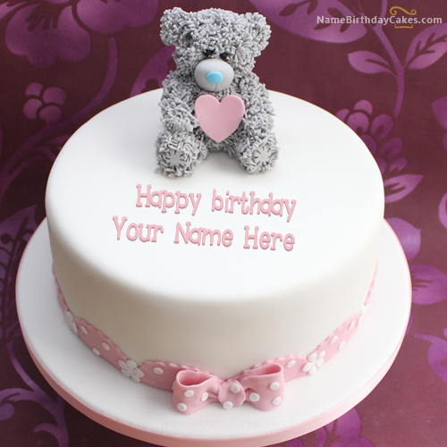 Write name on teddy birthday cake picture hbd