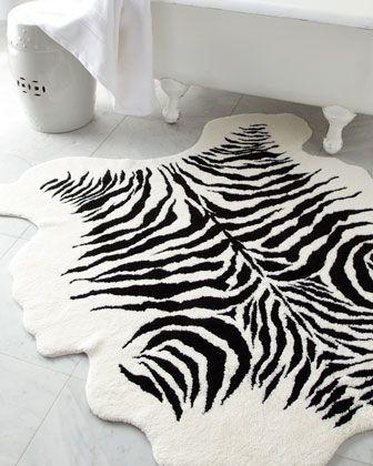 Zebra Bath Rug Print Bathroom, Animal Print Bathroom Rugs
