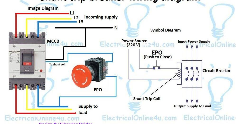 A Shunt Trip Breaker Wiring Diagram With Emergency Switch Or Kill Switch A Complete Diagram Of Mccb Shunt Trip Breaker Diagram Diagram Electrical Diagram Trip
