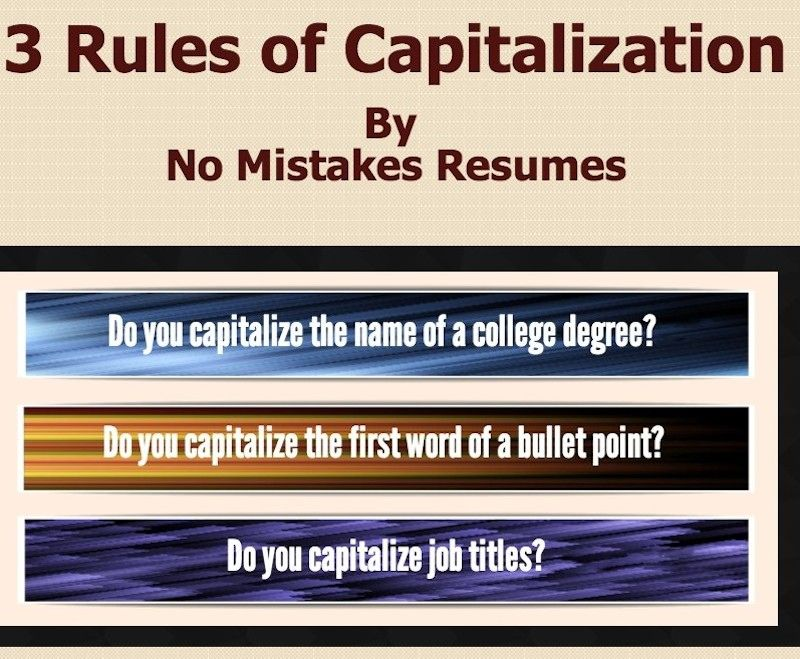 3 Rules For Capitalization on Resumes Resume