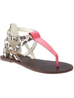 Girls Mixed T-Strap Sandals | Old Navy