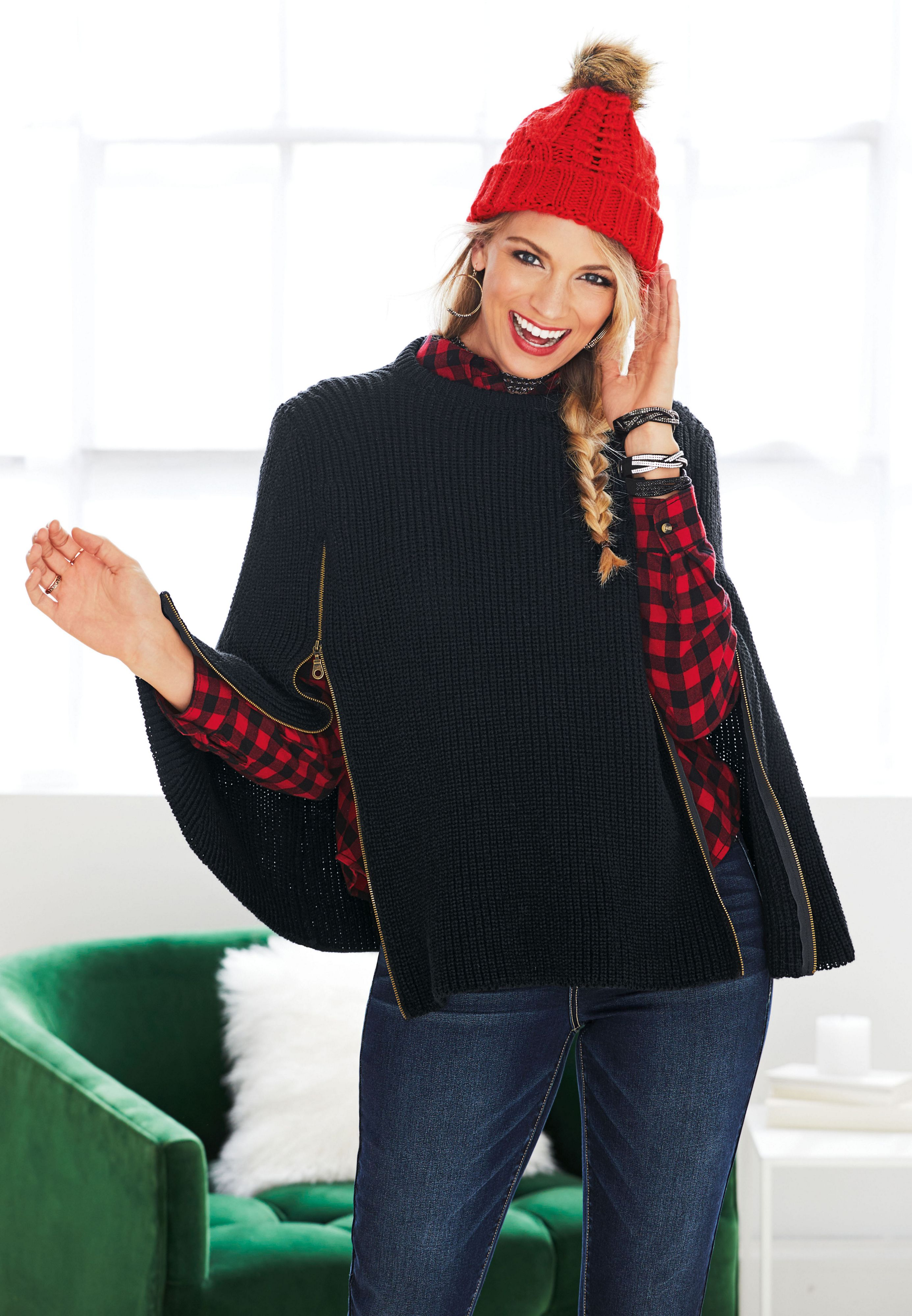 00be5d20c36 thick knit poncho with zippers (original price, $39.00) available at  #Maurices