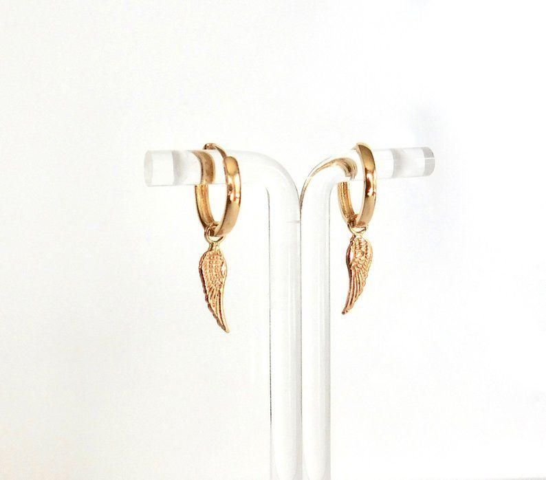 14k Gold Angel Wing Earring Hoop Pair Or Single Hoop Huggie Etsy Gold Feather Earrings Solid Gold Stud Earrings Solid Gold Bracelet