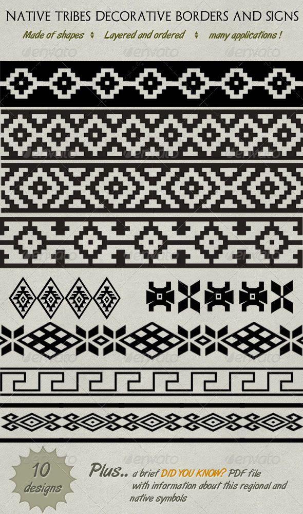 Native American Border Designs : native, american, border, designs, Decorative, Native, Tribe, Borders,, Lines, Symbols, Symbols,, American, Tribal, Patterns