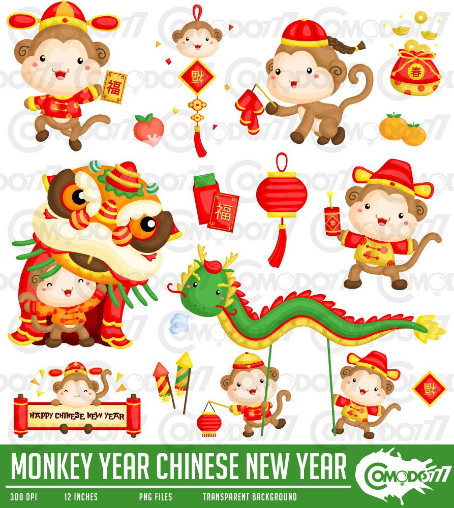Monkey Year Chinese New Year Clipart / Digital Clip Art ...