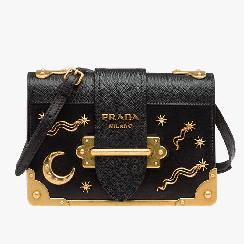 758cf873ff7aa1 Prada 1BH018 Moon x Stars Cahier Bag In Black | Prada bags outlet in ...