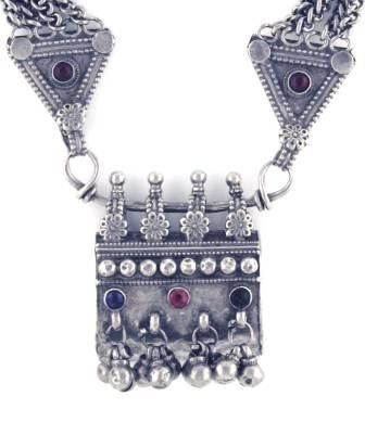 This is a rare antique heavy sterling silver taviz prayer box amulet necklace from Rajasthan, northern India