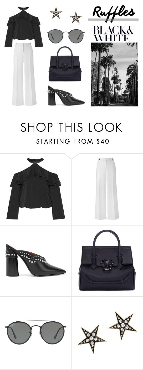 """Ruffles in Black N White"" by reneefoster022 ❤ liked on Polyvore featuring Alice + Olivia, 3.1 Phillip Lim, Versace, Ray-Ban, London Road, contest, blackandwhite and ruffles"