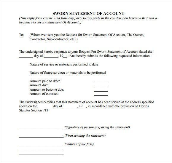 Sample Sworn Statement - 9+ Documents In Word, Pdf in Declaration - best of 9 sworn statement construction