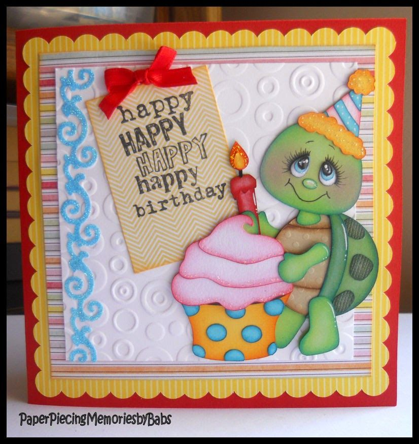 Happy Birthday Paper Pieced Turtle Card Created By Paper Piecing