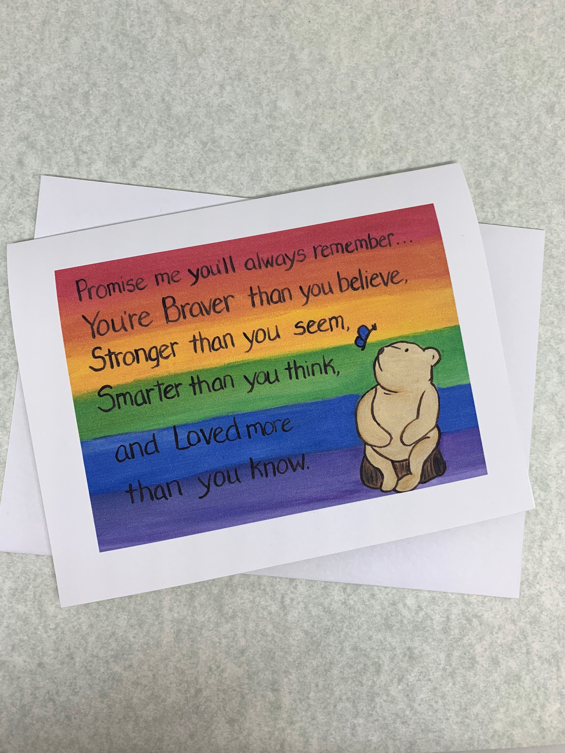 Encouraging Message Note Card Rainbow Encouraging Message Gift Card