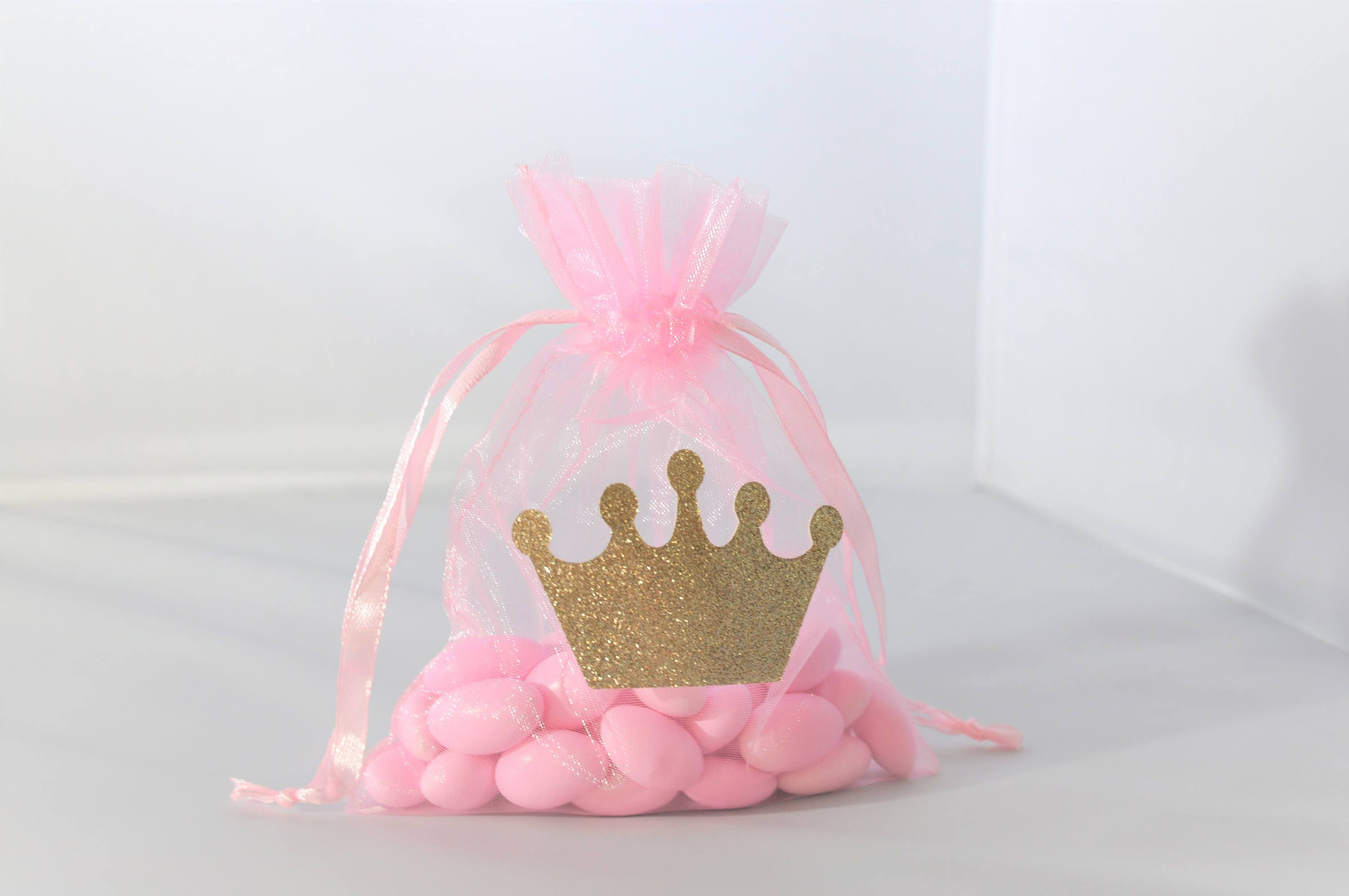 Princess Crown Favor Bags Pink and Gold Organza for Birthdays, Baby ...