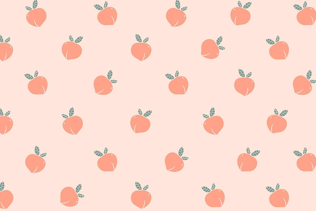 Download Premium Illustration Of Hand Drawn Peach Patterned Background Cute Desktop Wallpaper Peach Wallpaper Aesthetic Desktop Wallpaper