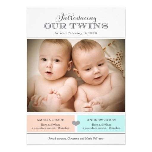 Twins Photo Birth Announcement Baby Girl and Boy Baby Birth