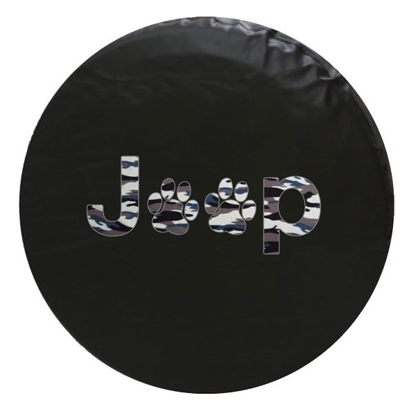 Jeep Army Camo Paw Print Spare Tire Cover