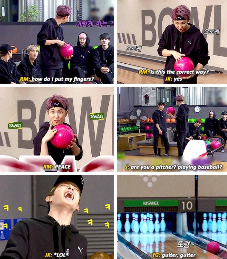 rap monster's first attempt at bowling #bts