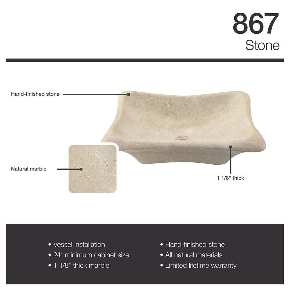 MR Direct Stone Vessel Sink in Galaga Beige Marble with Waterfall ...