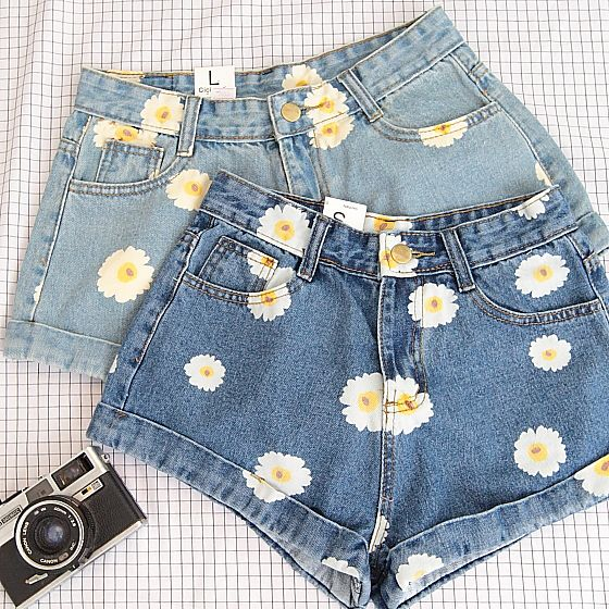 Photo of High Waist Summer Flowers Denim Shorts from Sweetbox Store