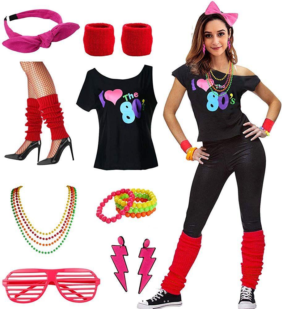 Verwonderlijk Amazon.com: esrtyeryh Women Costume Womens I Love The 80's Disco IB-89