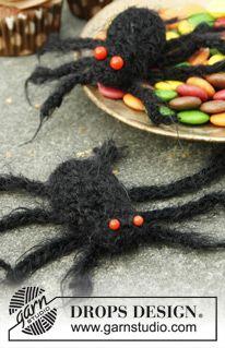 "DROPS halloween: Hæklet edderkop i ""Symphony"" eller ""Alpaca Boucle"" ~ DROPS Design spider free crochet pattern"