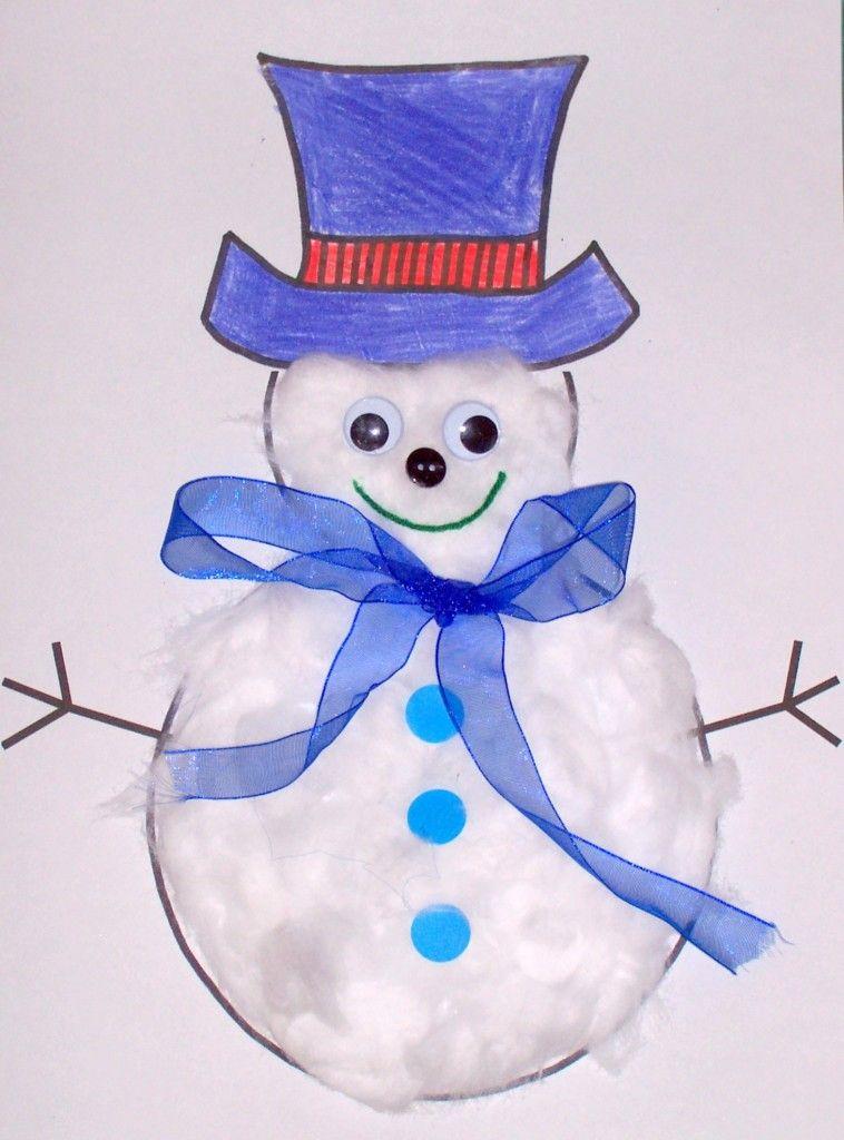 Snowman Winter Snow Themed Storytime Craft Idea Paper Snowman