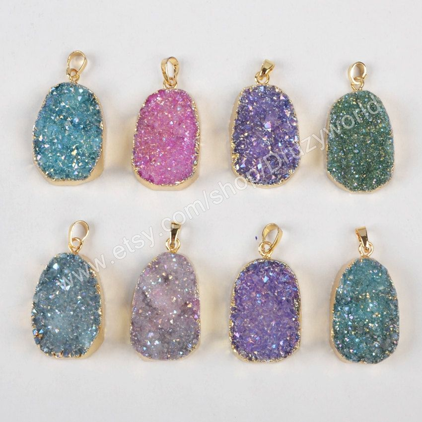 Wholesale gold plated brilliant rainbow titanium druzy pendant wholesale gold plated brilliant rainbow titanium druzy pendant spark natural agate drusy bead gemstone geode making mozeypictures Gallery