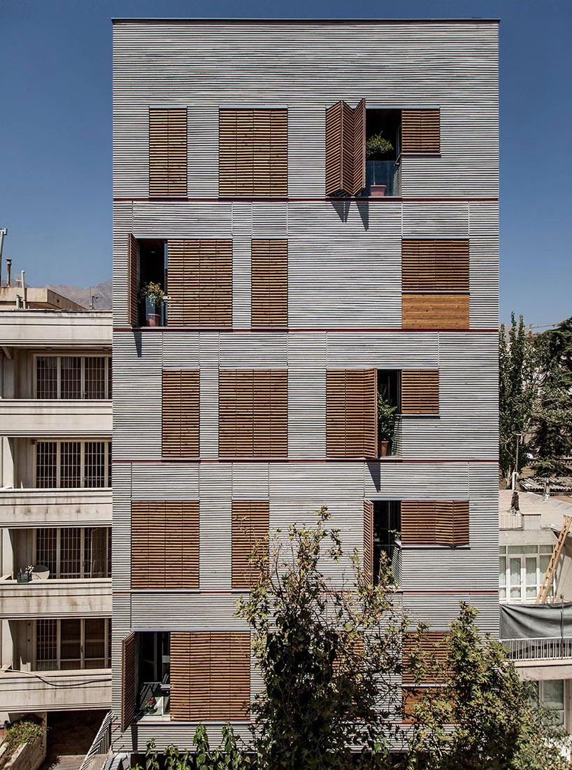 Ayeneh Office Clads Andarzgoo Residences In Tehran With Wooden Slats Facade Design Residential Building Architecture House