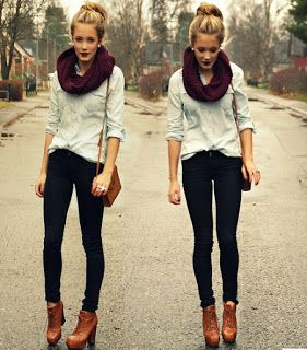 Fall Loving! Fall Outfit, black skinnies, brown booties, chambray, messy bun