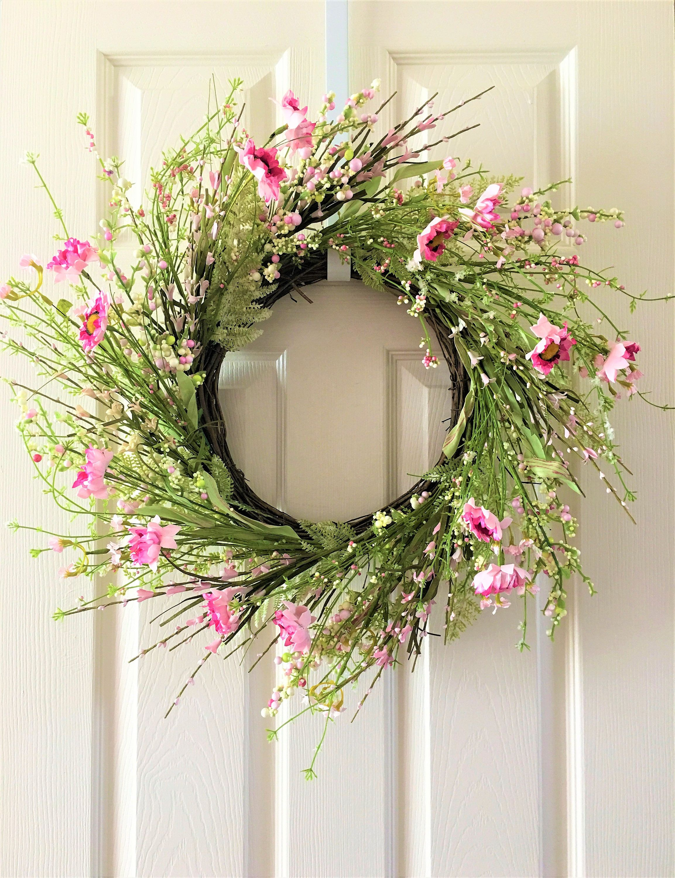 Spring Wreath For Front Door Flower Berry Summer Everyday By H2hcreation On Etsy