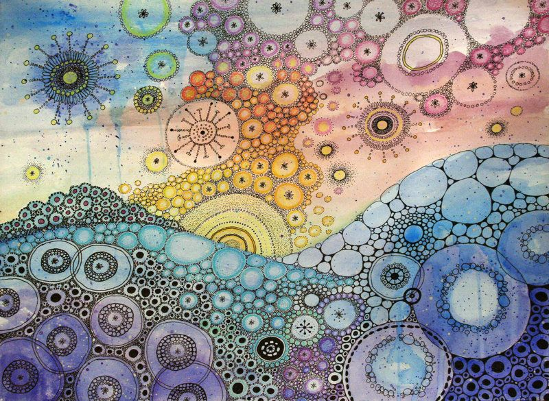 Anywhere Is By Camartin Watercolor Colorful Circles Ink
