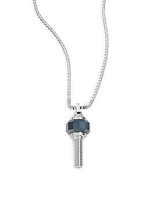 Swarovski Faceted Crystal Pendant Necklace - Stainless Steel - Size No