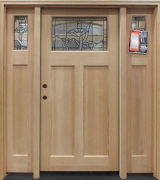 Norm\u0027s Bargain Barn - Fir Wood Door with Sidelights Poppies (Unfinished) & Norm\u0027s Bargain Barn - Fir Wood Door with Sidelights: Poppies ...
