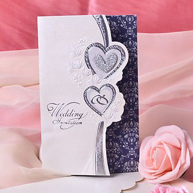 Tri fold wedding invitations 50 invitation cards heart style pearl double heart design wedding invitation set of 50 eur 3299 filmwisefo