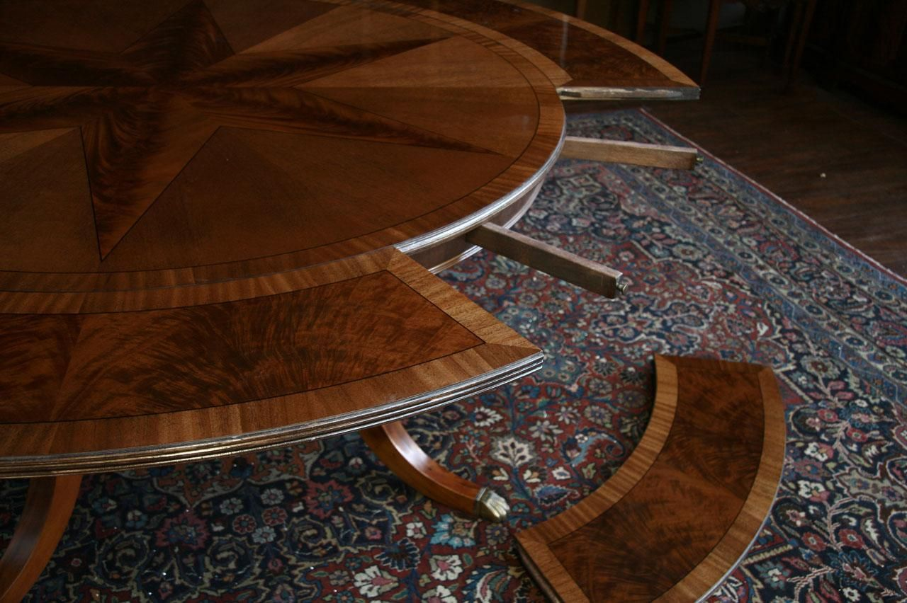 Large Round Mahogany Dining Table w Leaves Perimeter Round