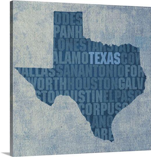 Texas State Words Word Art Canvas Canvas Art Prints