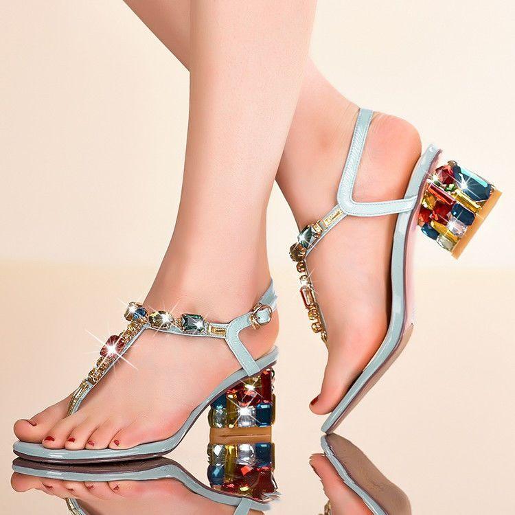 d2d70d77e285 Bohemia Vogue Womens Rhinestone Mid Block Heel Flip Flops Thong Sandals  Shoes