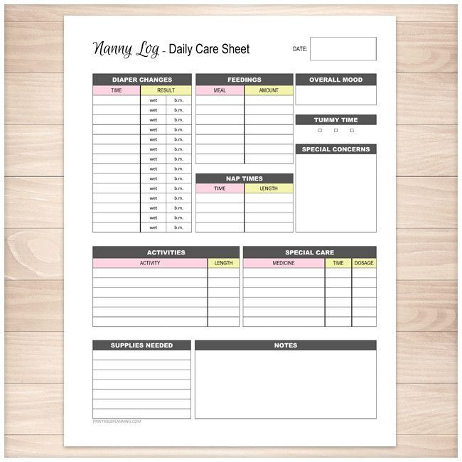 Nanny Log - Daily Infant Care Sheet - Pink \ Yellow - Printable - printable time sheet