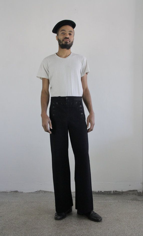 NAVY SAILOR'S TROUSERS / menswear / navy wool twill / 1980's Lyiaq0aIUk