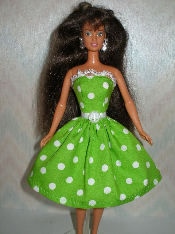 Handmade Barbie clothes  green and white polka by TheDesigningRose, $7.00