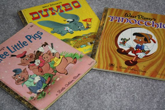 Trio of Disney Golden Books: Dumbo (1947), Pinocchio (1948), Three Little Pigs (1948). by SensitiveBookishType