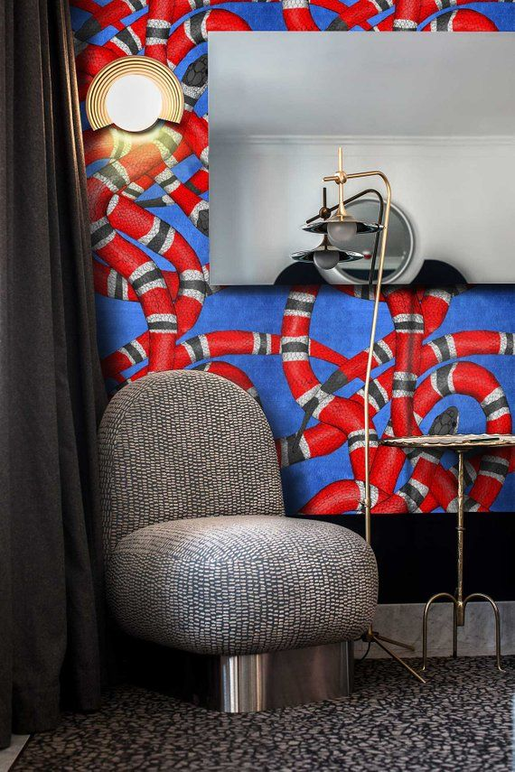 Red Snake Wallpaper, Wallpaper Removable, Removable, Gucci