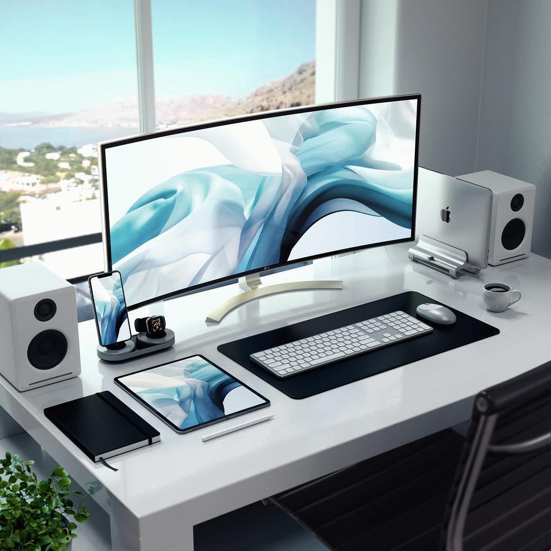 Setup Clean One Pixel Offices Computer Desk Setup Home Office Setup Game Room Design