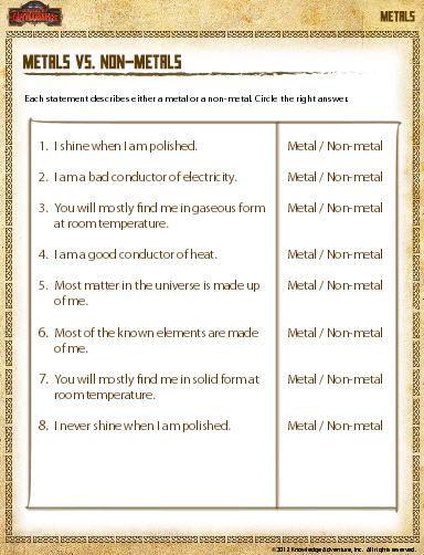 Education World Metals Vs Non Metals Worksheet