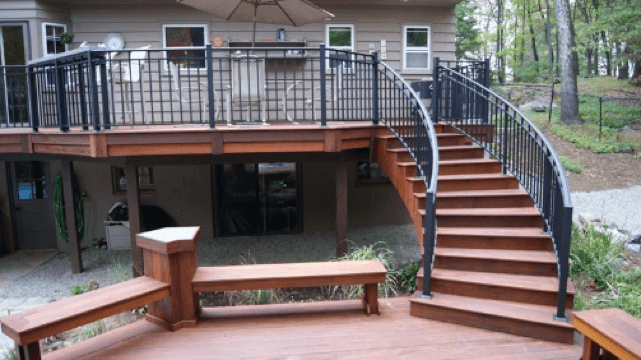 Curved Deck Stairs Google Search In 2020 Deck Curved Deck Deck Builders